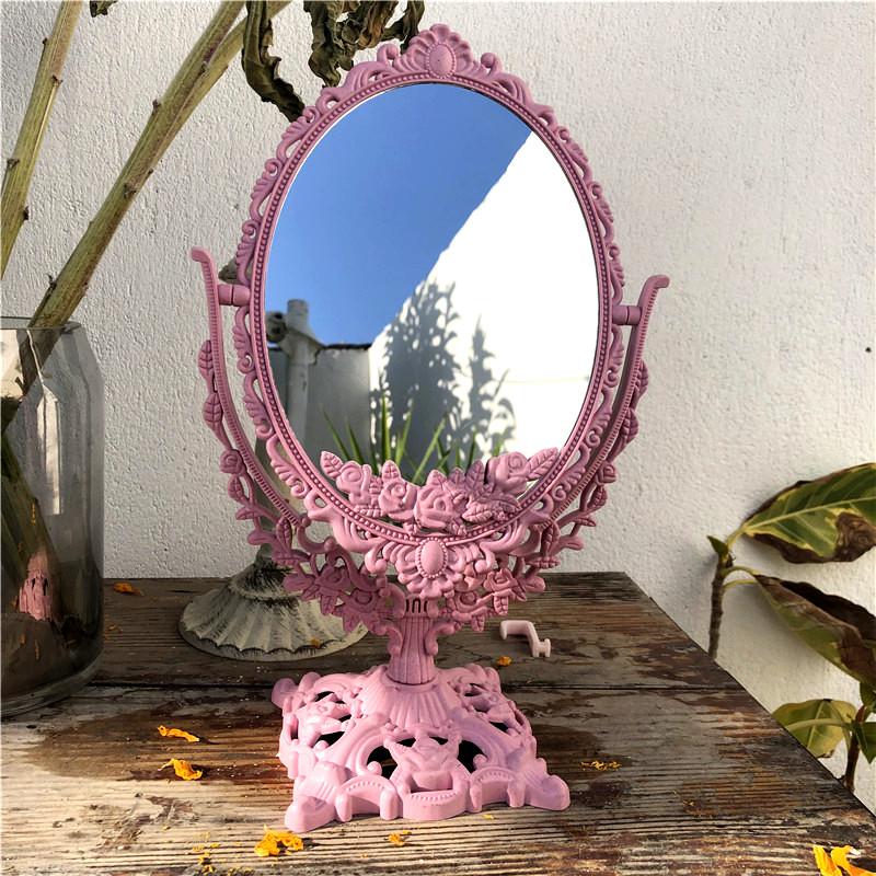 하트 원형 빈티지풍 테이블 거울, 분홍색 타원형 거울