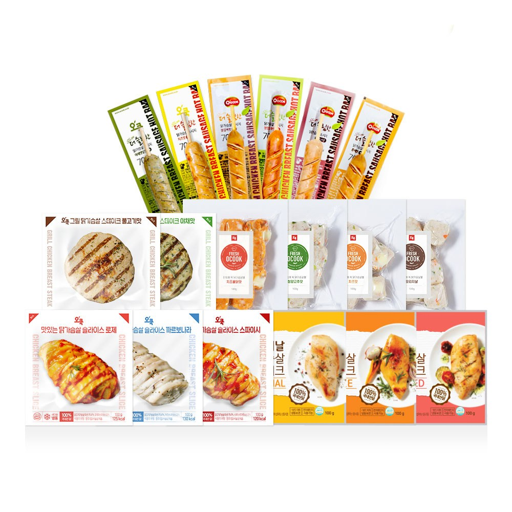 오쿡 [신제품출시기념] 닭가슴살 Best 18종 맛보기 세트 (47% 기간한정할인), 1세트