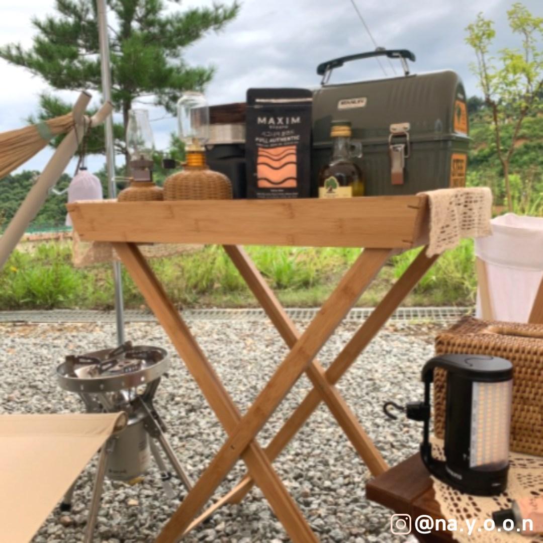 나나리가게 감성 캠핑 우드 원액션 보조 사이드 테이블 원목 뱀부 접이식 선반 쉘프 정리대