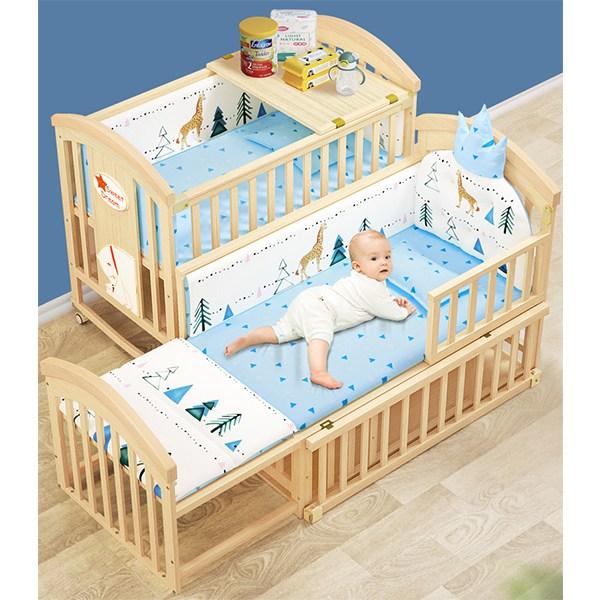 MOLY 아동 다기능 조절가능 원목침대 J1509 침대, 침대+범퍼+베개+토퍼 C