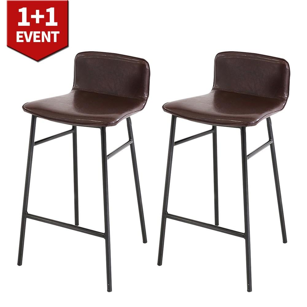 THEJOA 지니바체어 1+1 홈바체어 높은 빈티지 아일랜드 식탁 의자, 지니바체어-브라운 1+1