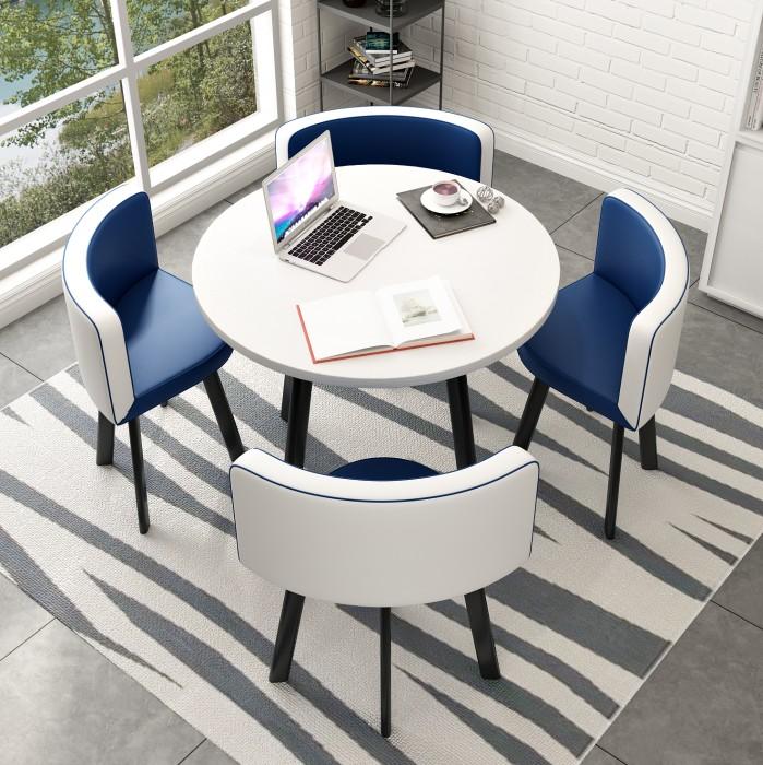 4인 원탁 라운드 카페 의자 티 테이블 세트, 라운드 테이블 파랑흰색 의자