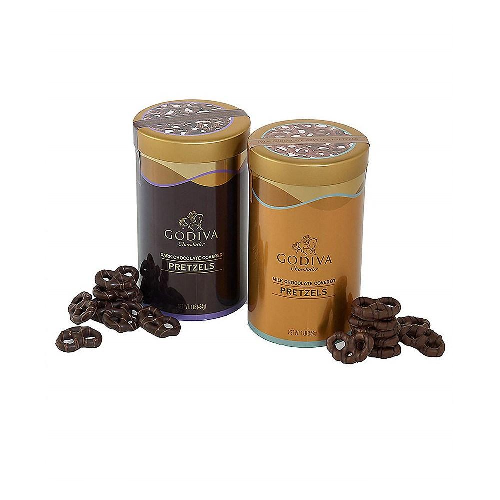 GODIVA Chocolatier 고디바 Chocolate Covered Pretzels Gift Canister 다크&밀크초코 프레즐, 1개