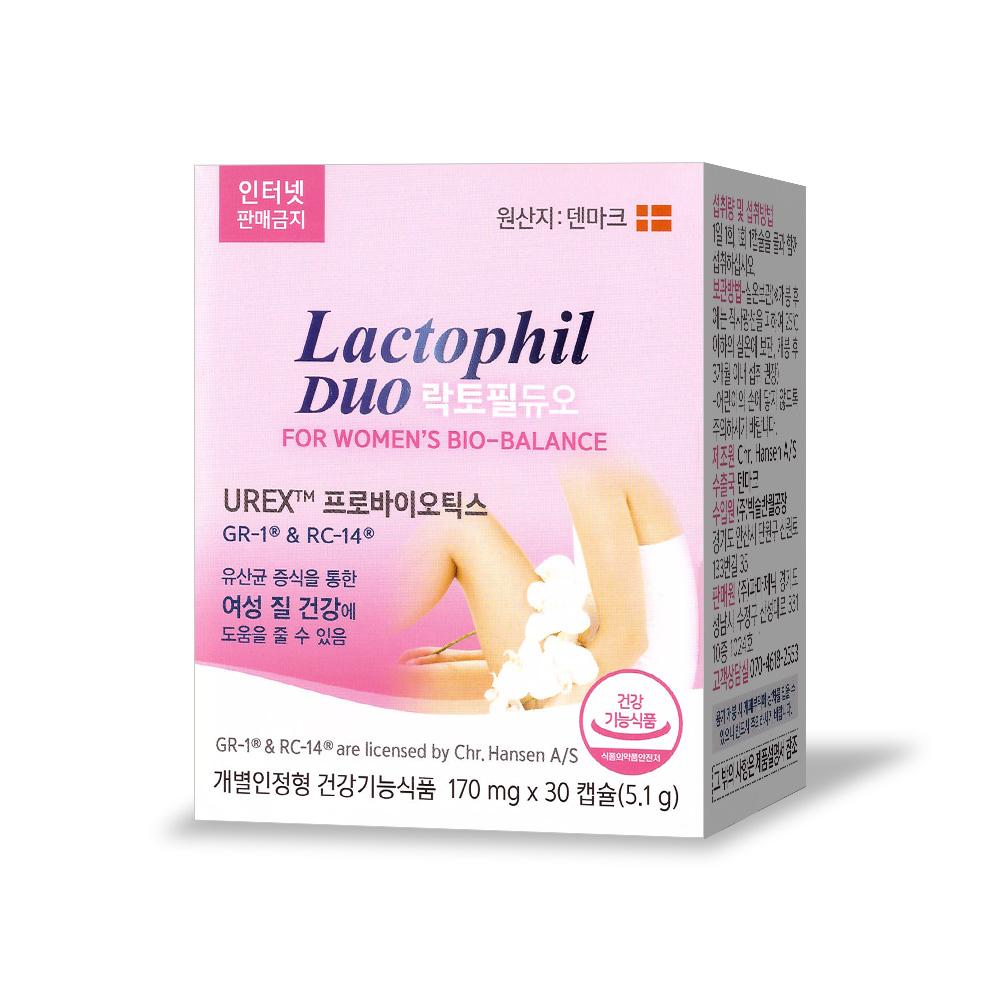 건강식품 여성 질 유산균 프로바이오틱스 영양제, 락토필 듀오 30캡슐