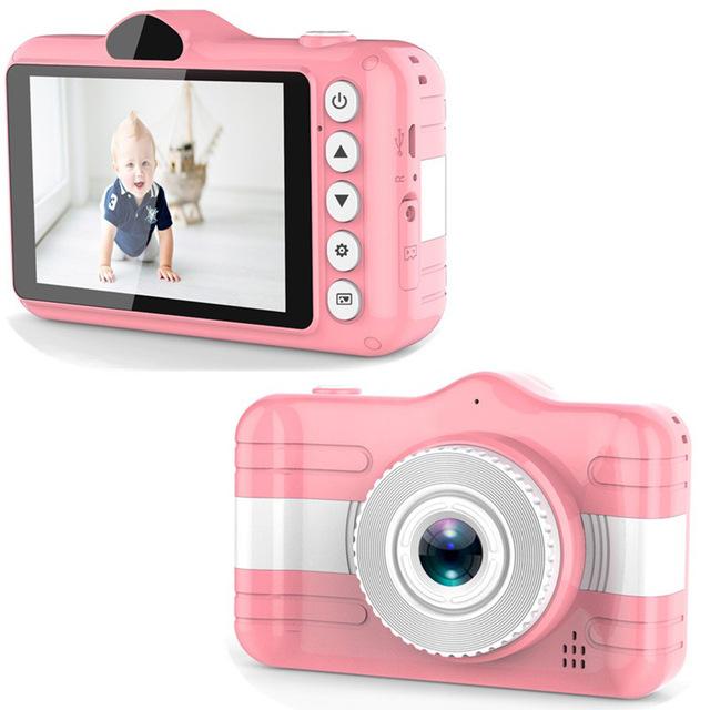 [해외직구] 어린이 전 후면 렌즈 800만화소 디지털 카메라 32GB 메모리 카드 증정 디지털카메라, 핑크