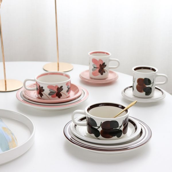 핀란드 빈티지 커피컵 복고풍 티컵과 접시 아침 식사 오트밀컵 코랄리 브레드 플레이트, 단일사이즈, 갈색 컵 받침/스푼