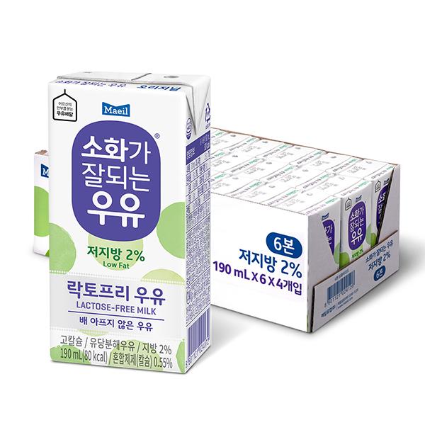 매일유업 소화가잘되는우유 저지방 190mlx12팩 락토프리 멸균우유 흰우유, 190ml, 12개입
