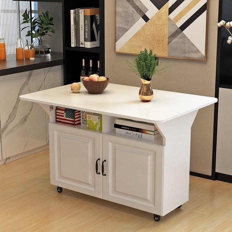 확장형 이동식 아일랜드 식탁 홈바 주방 수납장, 도어가있는 100 * 80 흰색 단일 테이블 (둥근 모서리)