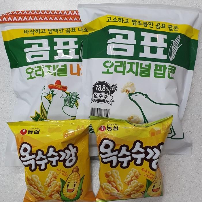 담팔담사 곰표 나쵸 190g 1봉지 + 팝콘 125g 1봉지 + 농심옥수수깡 70g 2봉지 (총4봉지)묶음상품