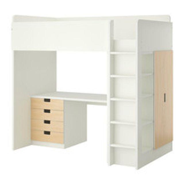 이케아 STUVA 수납벙커침대+책상 싱글 화이트 버치 2층침대 침대테이블 침대 수납형침대 uufr, 상세페이지참조()