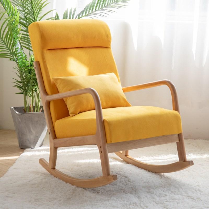 흔들의자 패브릭의자 북유럽 발코니 흔들 의자 단단한 나무 홈 현대 흔들 의자 성인 소파 싱글 안락 의자 게으른 노인 행복 의자, 레몬 옐로우 하이 백 섹션 [쿠션은 분리 가능하고 빨 수 있음]-천연 나무 프레임
