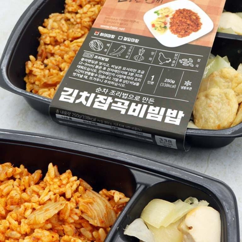 [하이미소] 청정 국내산재료로 만든 김치잡곡비빕밥(하이미+어묵조림+닭가슴살), 10팩, 250g