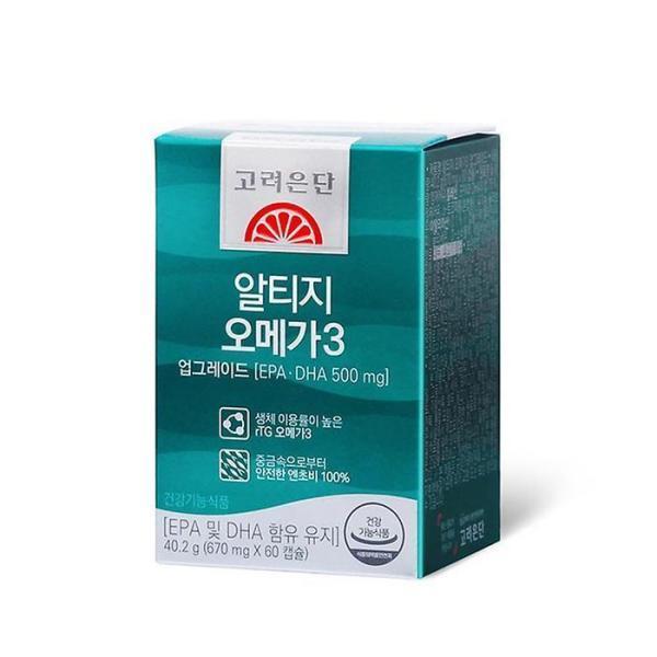 고려은단 알티지 rTG 오메가3 업그레이드 60캡슐, 상세 설명 참조