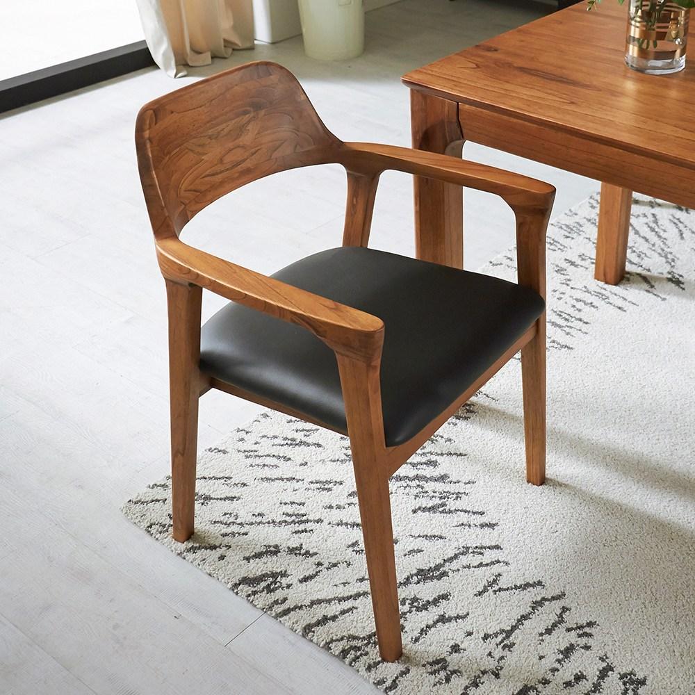 라로퍼니처 발렌시 원목 식탁의자 참죽나무 실링가우드 카페의자 인테리어의자, 단품