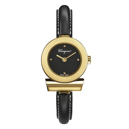 Ferragamo 페라가모 간치니 골드 블랙 뱅글 레더 시계 FII070015