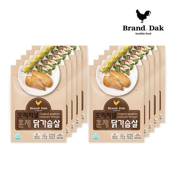 브랜드닭 훈제 닭가슴살 오리지널 100g 10팩, 10개