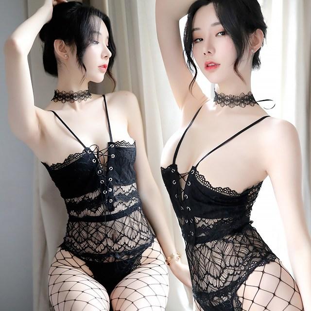 [오늘출발]시그널걸 레이스코르셋올인원+망사스타킹세트 올인원슬립 올인원속옷 섹시슬립