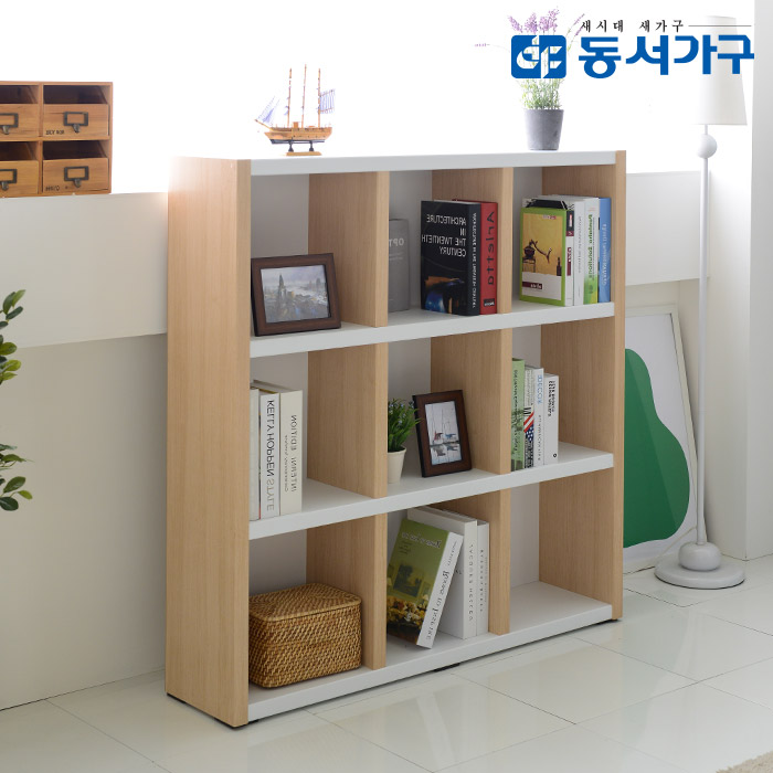 동서가구 프린스 1200 3단 오픈형 파티션책장, 메이플화이트