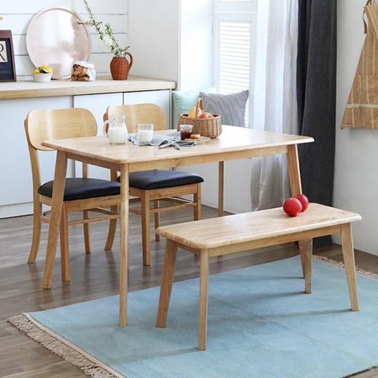 베스트리빙 고급스런 북유럽풍 캔버라4인원목식탁세트(의자옵션), 버터, 의자2개+벤치