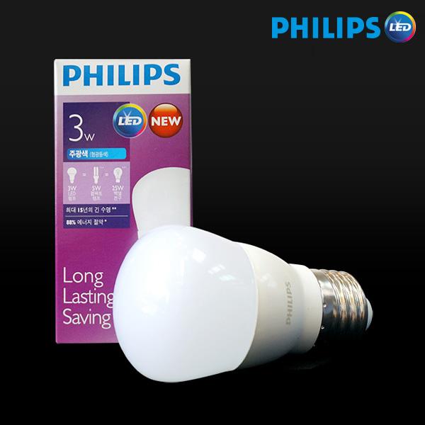 필립스 LED 미니전구 bulb 3W, 전구색, 1개