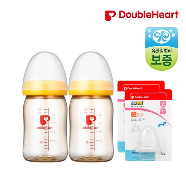 더블하트 PPSU노꼭지젖병160ml(2입)+신모유실감 젖꼭지(2입), 젖꼭지SS, 2p