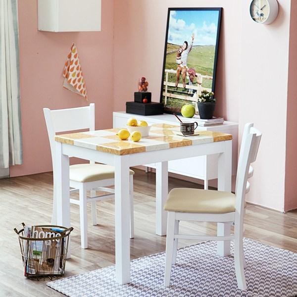 [베스트리빙] 캘빈화이트2인대리석식탁세트 일반식탁/의자세트, 체스대리석