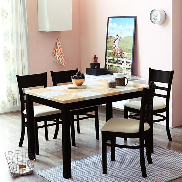 [베스트리빙] 캘빈웬지4인대리석식탁세트 일반식탁/의자세트, 체스대리석