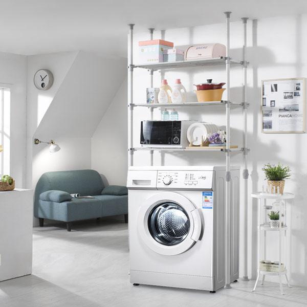 하우스데이 100%국산 세탁기선반 및 김치냉장고선반 행거, [원터치]폭조절 세탁기선반 3단(4기둥)