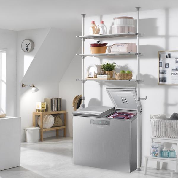 하우스데이 100%국산 세탁기선반 및 김치냉장고선반 행거, [원터치]폭조절 김치냉장고 3단선반
