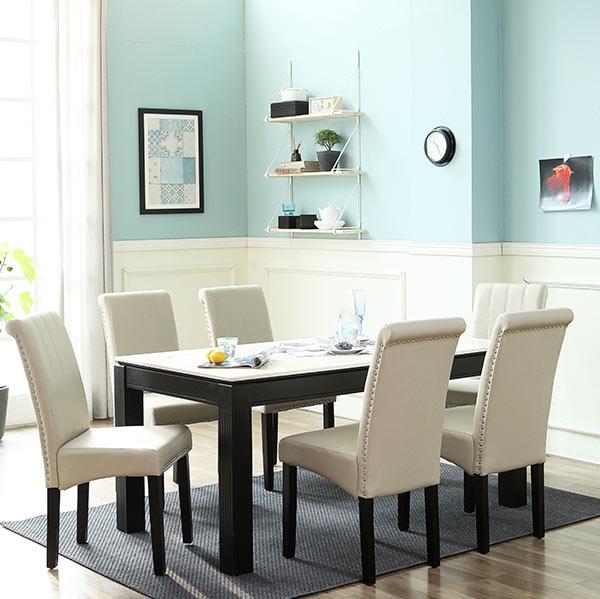 베스트리빙 앨빈 토론토 4인 대리석 식탁세트/의자4개, 1200화이트대리석/토론토베이지의자4개