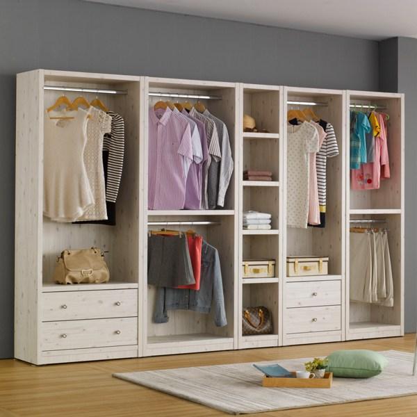 나산가구 드레스룸 시스템 옷장 오픈형, 800 서랍-화이트