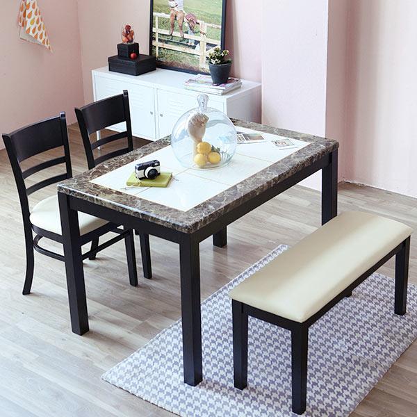 베스트리빙 캘빈4인 웬지 대리석 식탁세트, 식탁 + 벤치 + 의자 x2, 투톤