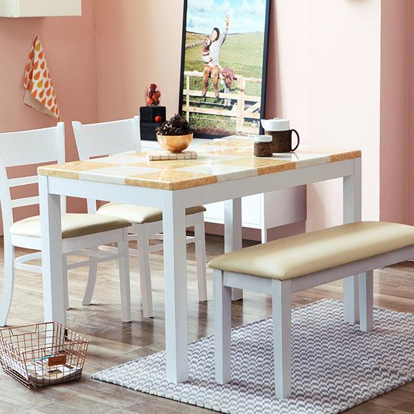 베스트리빙 캘빈 4인 화이트 대리석 식탁세트(벤치형) C56 4인식탁, 체스대리석