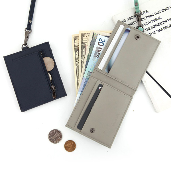 천연소가죽 라임블로썸 지퍼 목걸이 카드지갑 카드홀더