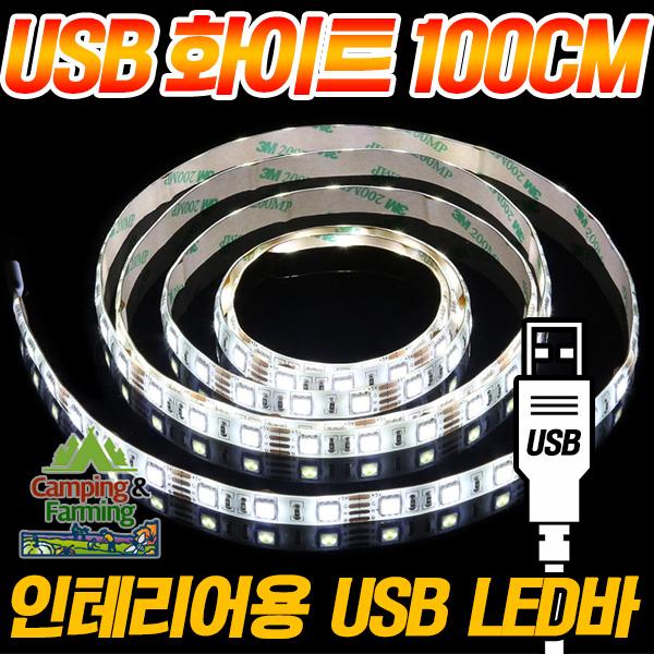 캠팜 인테리어 휴대용 USB LED바 (5V/화이트 100cm), 단일상품