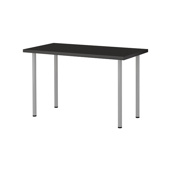 IKEA LINNMON/ADILS 테이블 컴퓨터책상 120 x 60, 테이블:블랙브라운 다리:실버