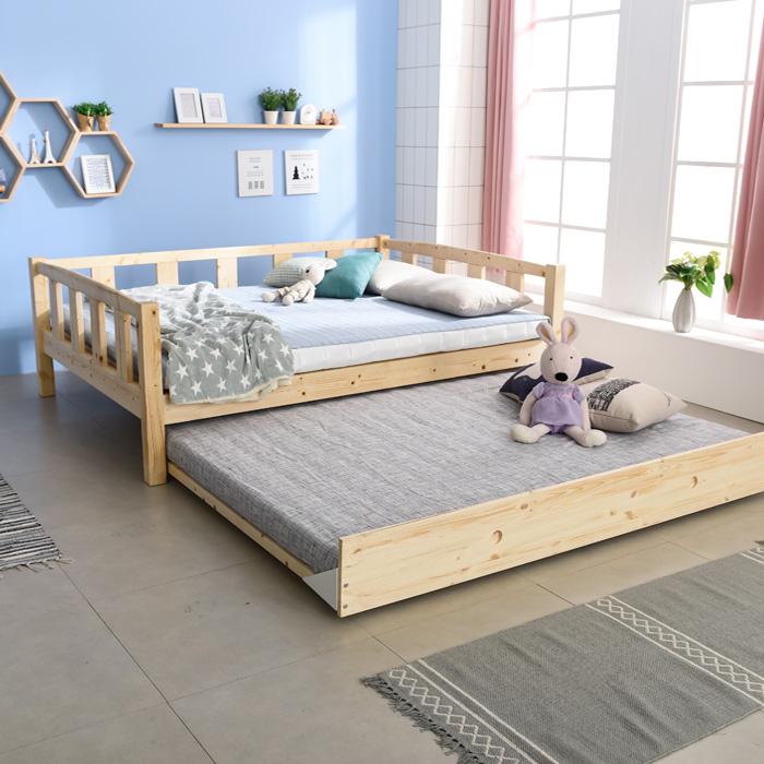 크렌시아 세이퍼 원목 이단 슬라이딩 패밀리 침대+매트리스 (퀸+퀸), 원목색, 스마트 독립CL텍스20T 포함