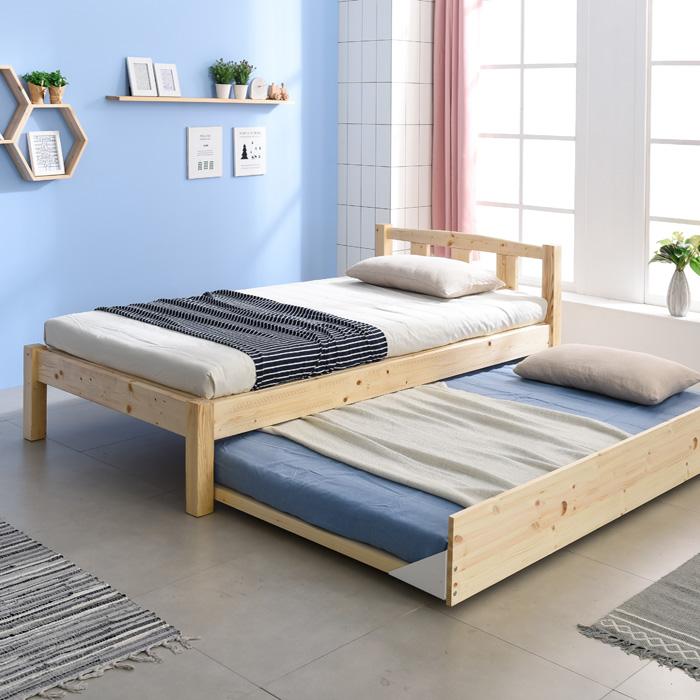 크렌시아 세이퍼 원목 이단 슬라이딩 슈퍼싱글 침대 (매트제외), 원목색