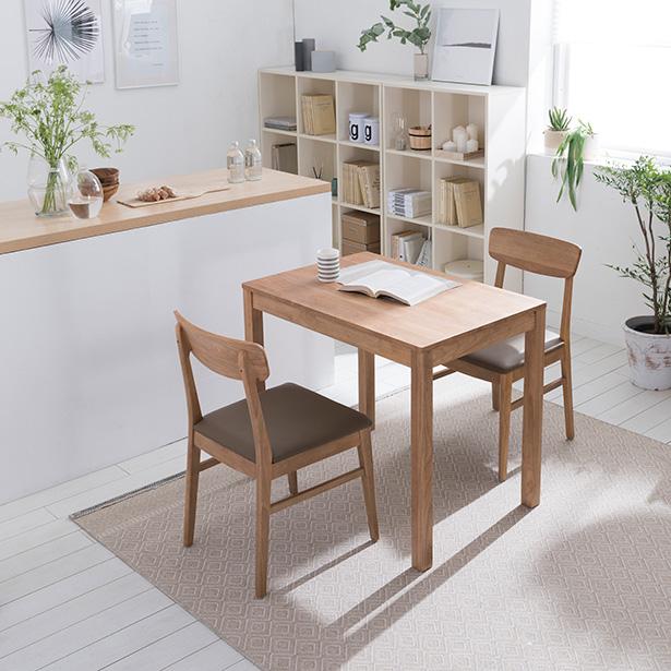 리바트온라인 뉴시나몬 2인 원목 식탁세트(원목의자2개), 단일상품