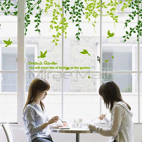 미래몰 나뭇잎 포인트 벽지 스티커, 다-022 꿈의 정원 아래