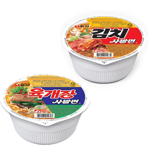 농심 육개장사발면24컵+김치사발면24컵 컵라면, 48개