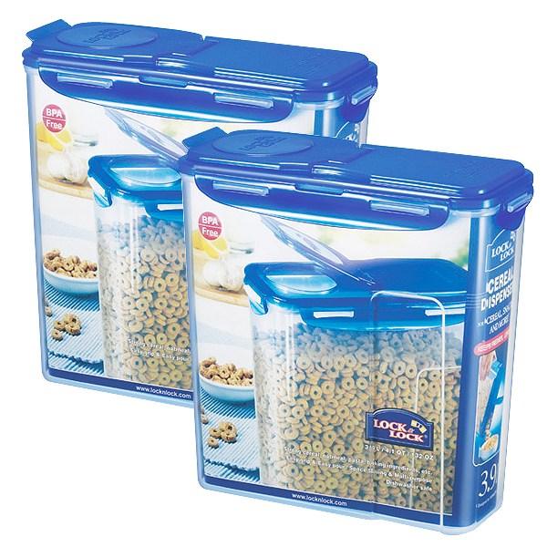 락앤락 시리얼통 3.9L 2개 - 쌀.잡곡보관 밀폐용기 씨리얼.밀가루.파스타면.사료소분 캐니스터 사각플라스틱, 블루, 2개세트