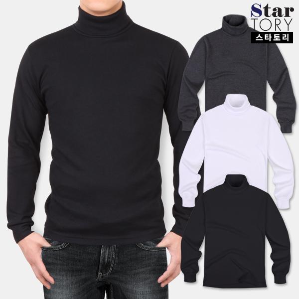 스타토리 남성용 심플 양면 목폴라 긴팔 티셔츠