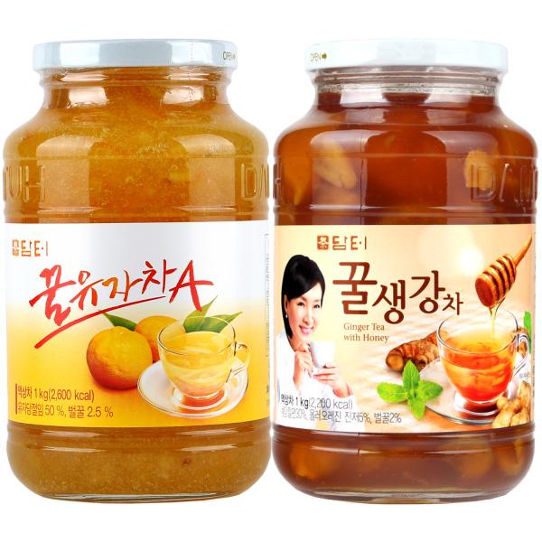 담터 꿀유자차A 1kg + 꿀생강차 1kg (무료배송), 단일상품