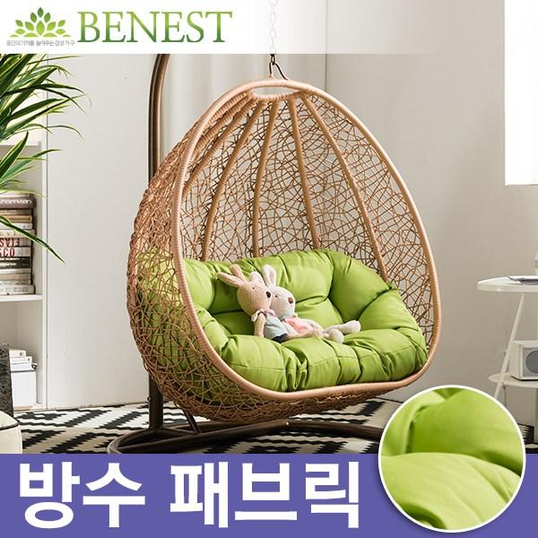 케네스 컴팩트 2인용 라탄 인테리어 그네 의자세트 (B형_컴팩트), 그린