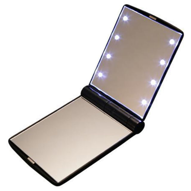LED 조명거울 콤팩트형 양면 손거울 화장거울, 블랙, 1개