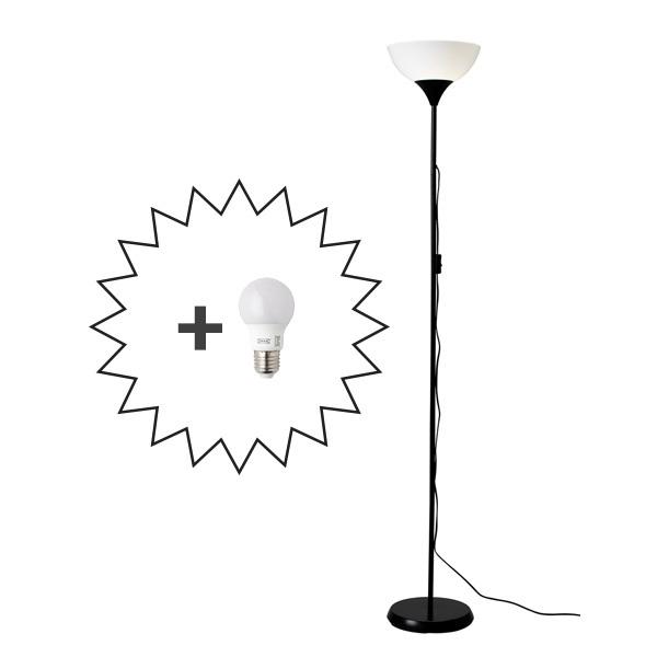 IKEA 이케아 NOT 상향식플로어스탠드+ IKEA정품전구 인테리어등, 블랙/화이트