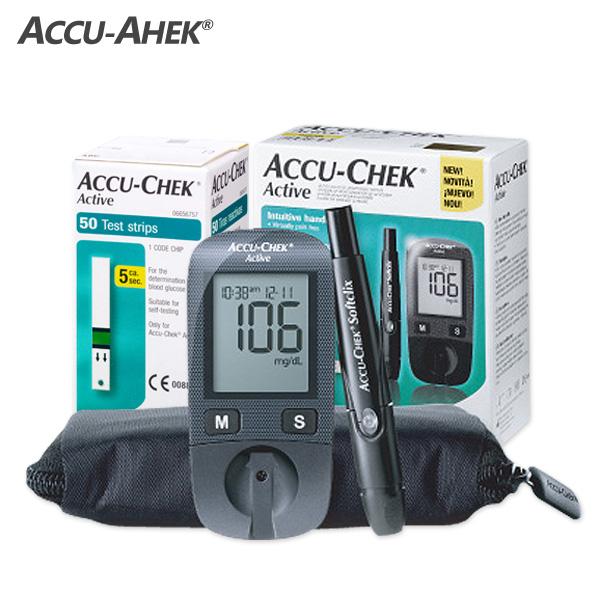 아큐첵 액티브GU 혈당계 혈당측정기 세트, 시험지60매+침100+솜100