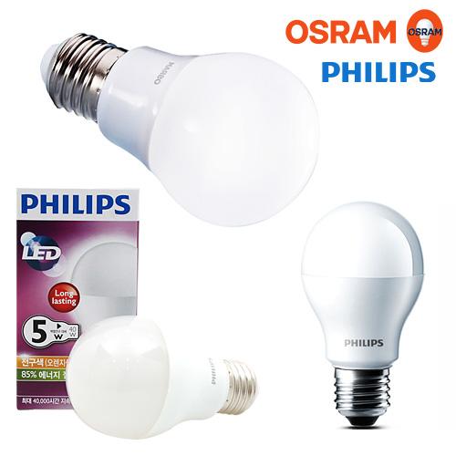 필립스/오스람 LED전구 조명 램프, 02-2.필립스7W(전구색-노란빛), 1개