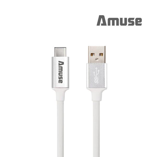 어뮤즈 USB 3.1 Gen2 C타입 고속충전케이블, 화이트실버, 1